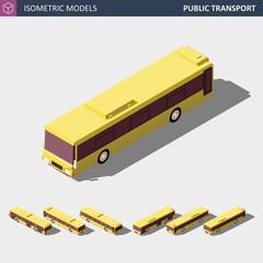 Isometric Icon of Public City Bus. Vector Illustration.