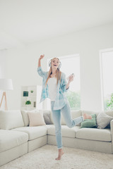 Vertical full body length photo portrait of funny rejoicing exci