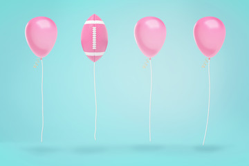 3d rendering of three pink party balloons hanging in the air on strings with one American football ball among them.
