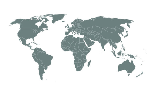 World map isolated on white background, vector