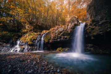 Waterfall with autumn foliage in Fujinomiya, Japan.