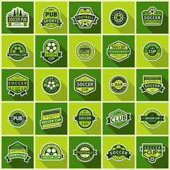 Big football set green badges vector illustration