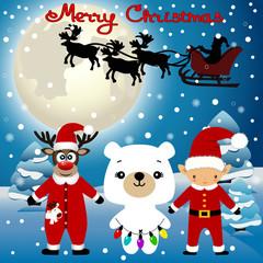 Christmas card. Funny postcard with Christmas Elf, Christmas rei