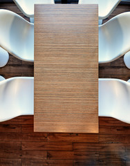 Top view from above on a empty office wooden table