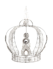 Royal Crown with Jewels and Made of White Gold or Silver on a White Background
