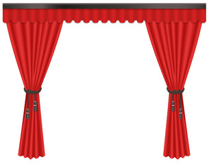 Opened luxury, expensive scarlet red silk velvet curtains draperies isolated on the white background.