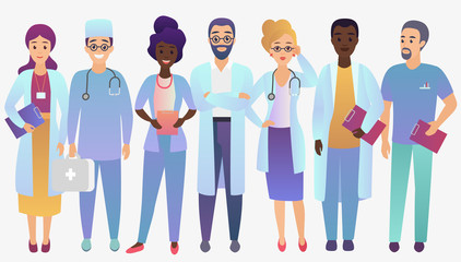 Medical team doctors in trendy fradient color style isolated.