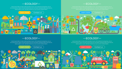 Ecology, green technology, recycle and save the planet horisontal flat concept design horizontal banners set.