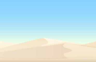 Desert white sand dunes egyptian vector landscape background.