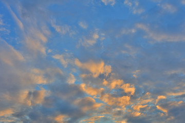 Cloud background with the color of sunset