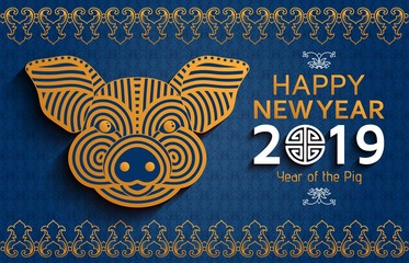 Chinese New Year background with creative stylized pig
