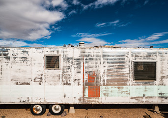 Old  vintage abandonned  and decaying Motorhome in the California Desert