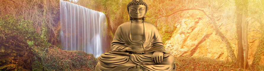 Figure of a buddha with a waterfall in the background