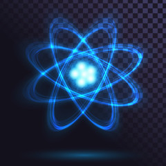Blue glowing atom on transparent background. Science, physics. Nuclear power