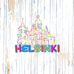 Colorful Helsinki drawing on wooden background