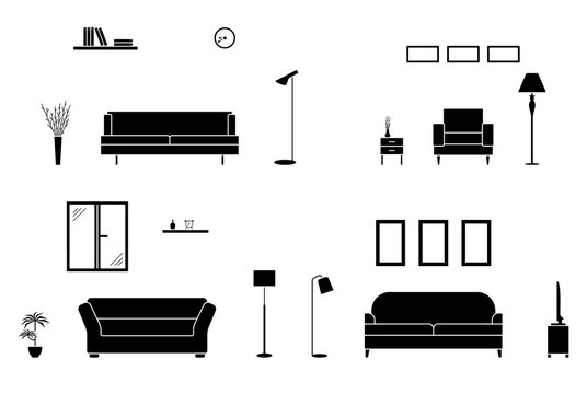Luxury home interior black and white set. Empty living room silhouette