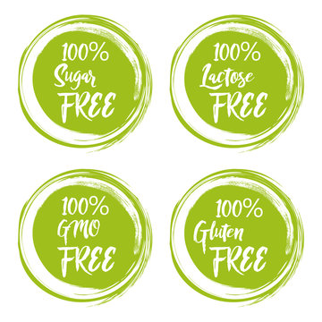 Set of round green labels with text - lactose free, sugar free, gluten free, gmo free