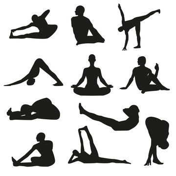 Set of detailed yoga poses and postures silhouettes. Vector illustration