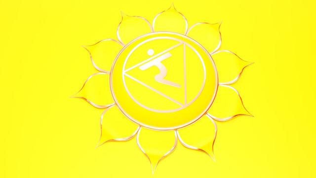 Yellow Manipura chakra solar plexus symbol concept of Hinduism, Buddhism, Ayurveda. Wisdom power. 3d rendering