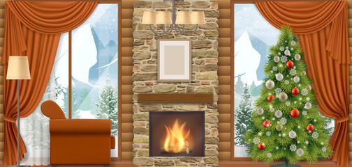 Luxury home interior with a fireplace and mountain view through the window.  Chalet or house in mountains. Vector illustration of a winter vacation.