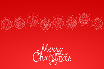 Merry Christmas red background with hand drawn elements. Vector xmas greeting card with calligraphy lettering.