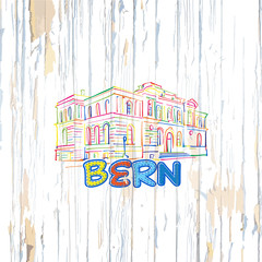 Colorful Bern drawing on wooden background