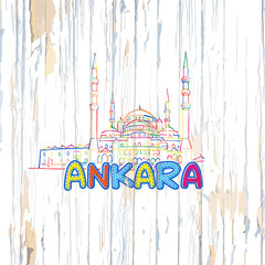 Colorful Ankara drawing on wooden background