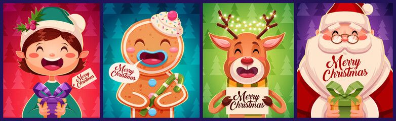 Set of Merry Christmas greeting cards design. With Christmas characters holding gift boxes. Vector