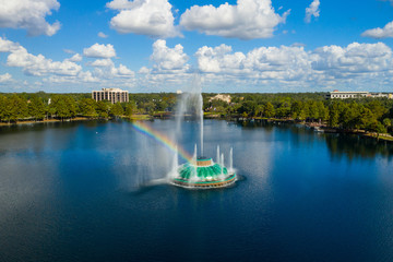 Rainbow fountain Lake Eola Orlando Florida