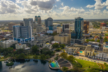 Wall Mural - Aerial photo Downtown Orlando Florida USA Lake Eola Heights business district