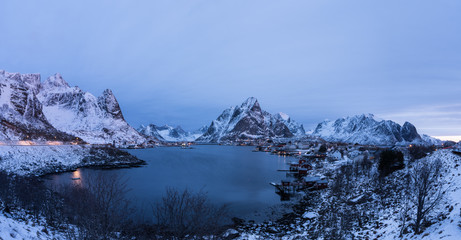 Reine village covered with snow one of the most beautifu landmark in Lofoten,Norway