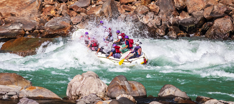 white water rafting with a splash in river ganges rishikesh India