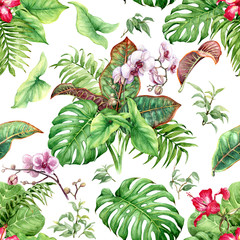 Watercolor Tropical Plants Seamless Pattern