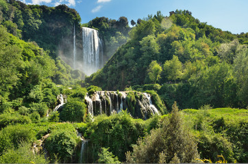 Marmore Falls is a man-made waterfall created by the ancient Romans located near Terni, Italy