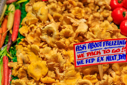 Fresh chanterelle mushrooms for sale at Pike Place Market in Seattle