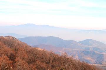 landscape of the hills and mountains in autumn