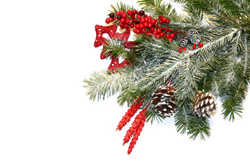 Christmas background with fir tree and various decorations on the white. Xmas background