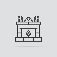 Fireplace icon in flat style isolated on grey background.