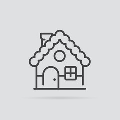 Gingerbread house icon in flat style isolated on grey background.