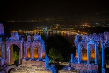 ruins in italy at night