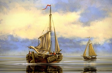Digital oil  paintings sea landscape. Fishing boats.  Fine art.