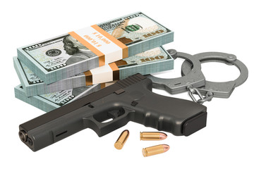 Handcuffs, gun and dollar packs. Crime concept. 3D rendering