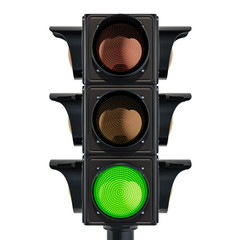Traffic light with green color, 3D rendering
