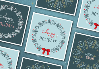 Square Christmas  Card Layout Set with Intricate Wreath Illustrations