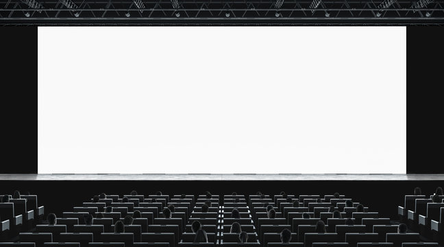 Cinema hall with auditorium watching movie on blank screen mockup