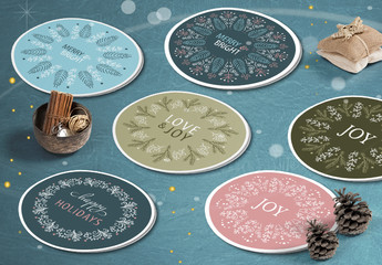 Round Christmas Sticker Layout Set with Intricate Wreath Illustrations