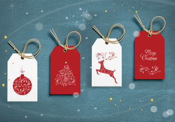 Christmas Gift Tag Layout Set with Intricate Illustrations