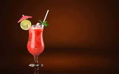 Glass of alcohol  cocktail on bar background, frozen fruit drink