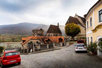 Fortified Stone Church, St Michael, beside Danube River in Weissenkirchen, in Wachau Valley