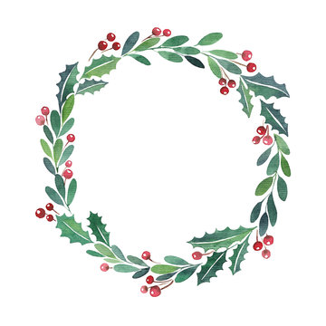 Christmas wreath watercolor paint frame New Year 2021